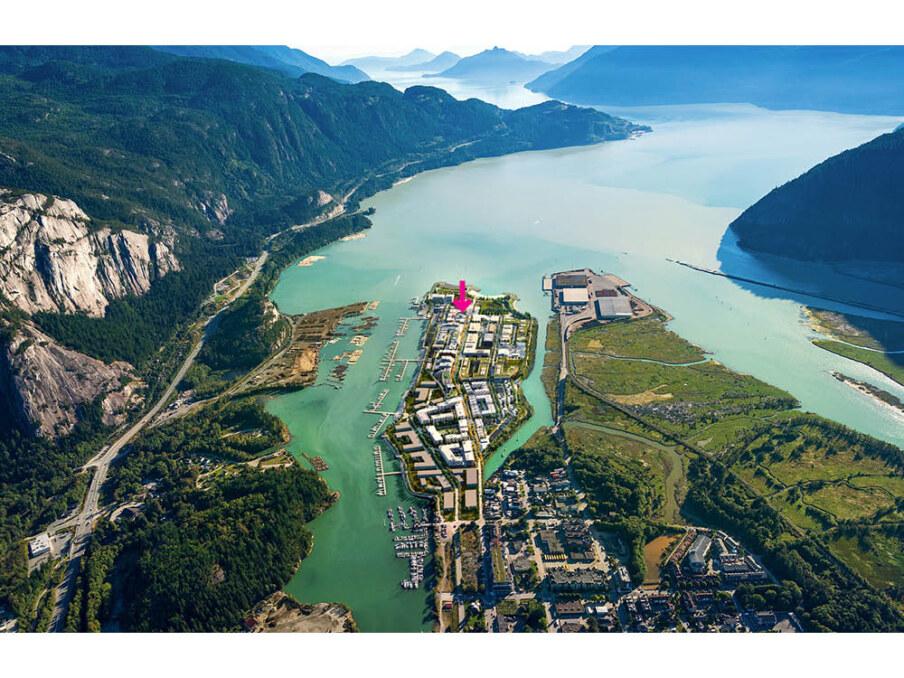 Squamish Oceanfront presentation Centre aerial render
